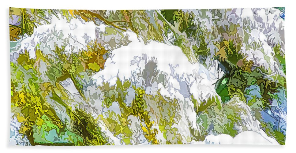 Background Hand Towel featuring the painting Winter Wonderland by Jeelan Clark