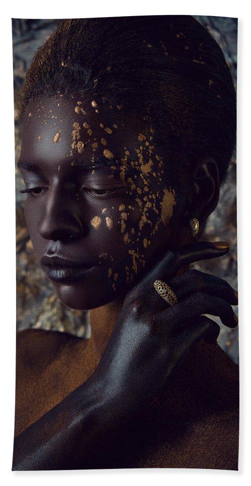 Beauty Shot Hand Towel featuring the photograph Woman In Splattered Golden Facial Paint by Veronica Azaryan