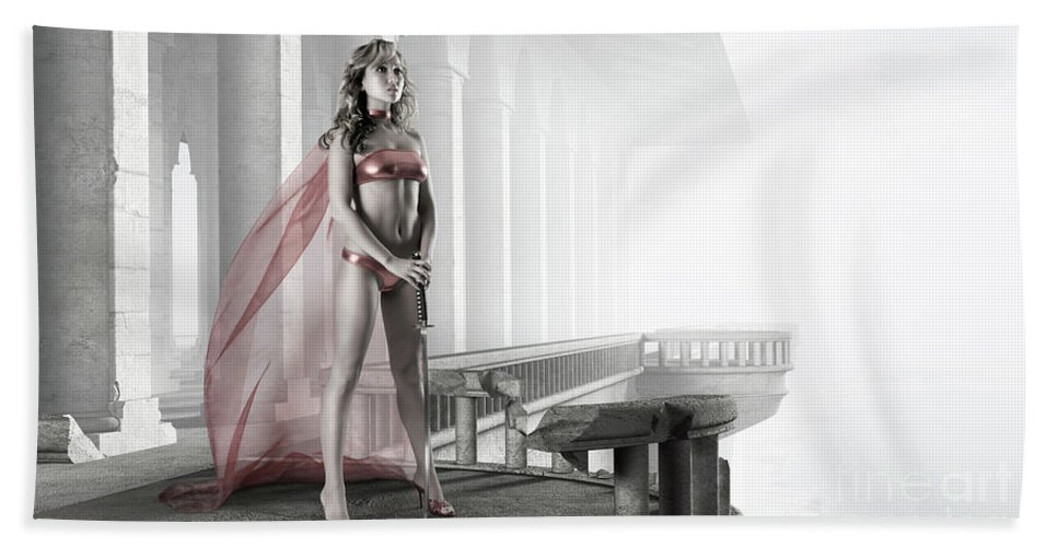 Woman Bath Sheet featuring the photograph Woman Warrior by Oleksiy Maksymenko