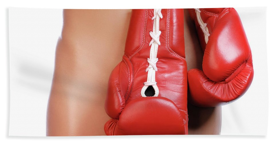 Woman Bath Sheet featuring the photograph Woman With Boxing Gloves by Oleksiy Maksymenko