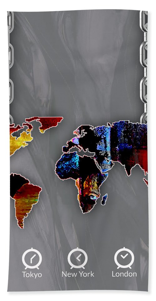 World Map Bath Sheet featuring the mixed media World Map Collection by Marvin Blaine