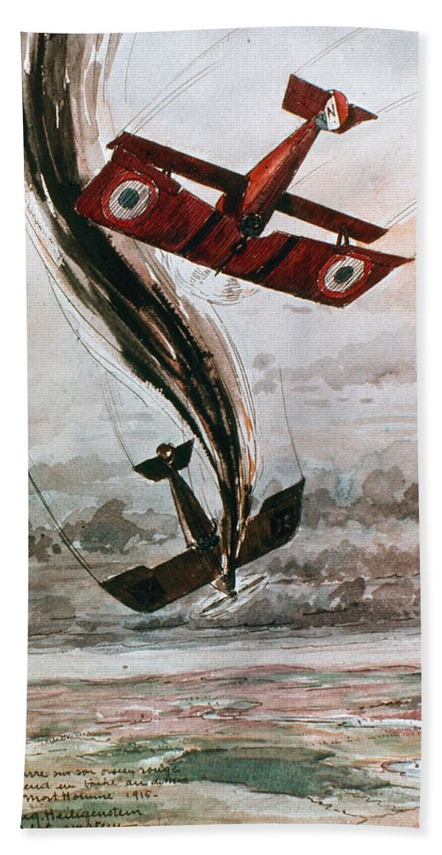 1916 Bath Sheet featuring the photograph World War I: Aerial Combat by Granger