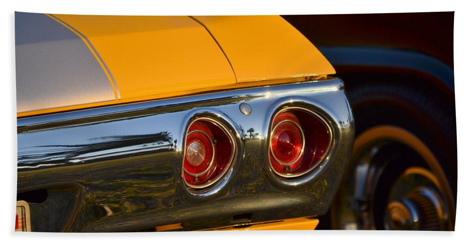 Bath Sheet featuring the photograph Yellow Chevy by Dean Ferreira