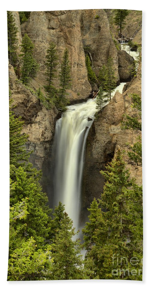 Tower Falls Bath Towel featuring the photograph Yellowstone Tower Falls 2018 by Adam Jewell