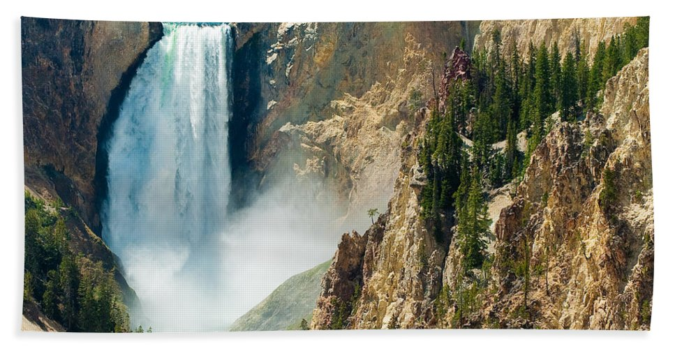 Yellowstone Hand Towel featuring the photograph Yellowstone Waterfalls by Sebastian Musial