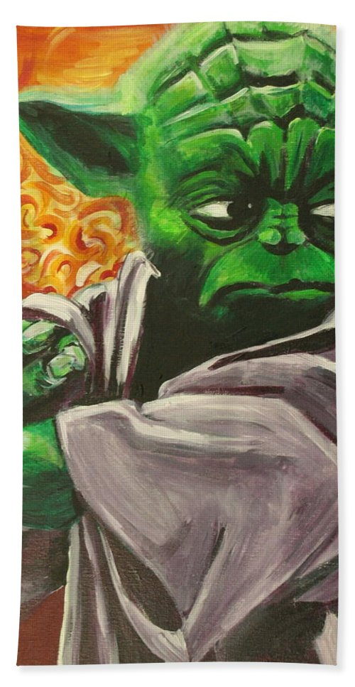 Yoda Hand Towel featuring the painting Yoda by Kate Fortin
