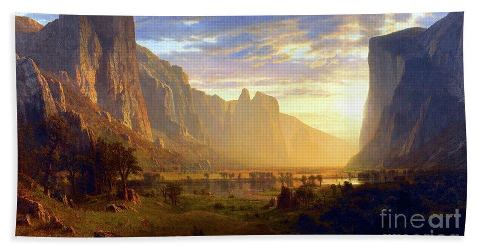 Albert Bierstadt Bath Towel featuring the painting Yosemite Valley by Albert Bierstadt