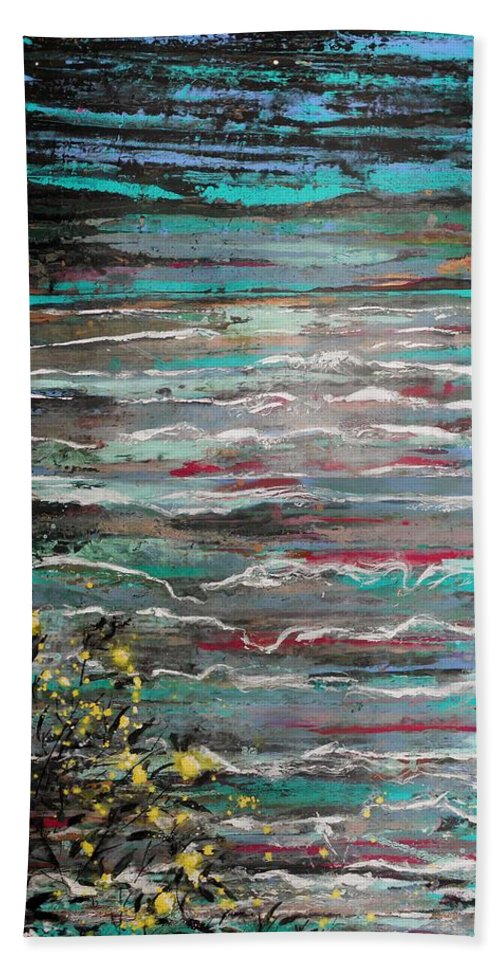 Abstract Bath Sheet featuring the painting You Guide My Way by Angie Wright