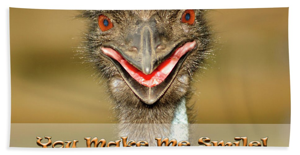 Emu Hand Towel featuring the photograph You Make Me Smile by Carolyn Marshall