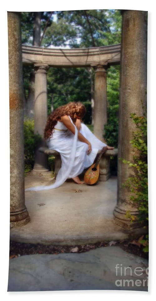 Woman Bath Sheet featuring the photograph Young Woman As A Classical Woman Of Ancient Egypt Rome Or Greece by Jill Battaglia