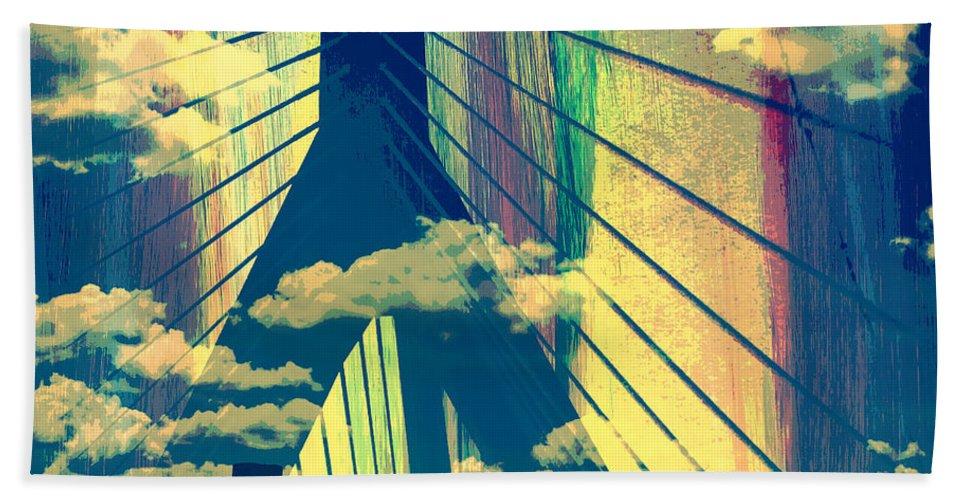 Brandi Fitzgerald Bath Towel featuring the digital art Zakim Bridge Boston V4 by Brandi Fitzgerald