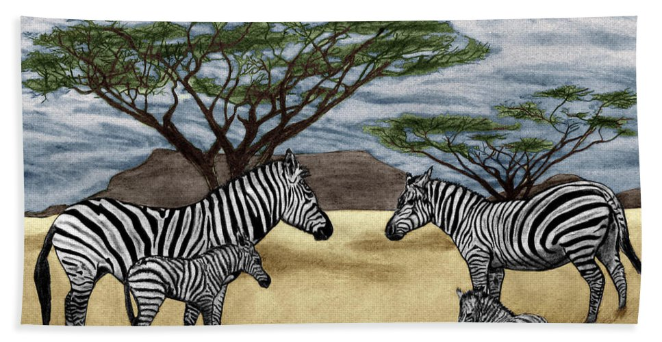 Zebra African Outback Bath Sheet featuring the drawing Zebra African Outback by Peter Piatt