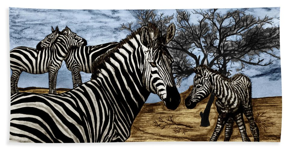 Zebra Outback Bath Towel featuring the drawing Zebra Outback by Peter Piatt