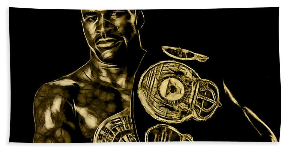 Evander Holyfield Hand Towel featuring the mixed media Evander Holyfield Collection by Marvin Blaine