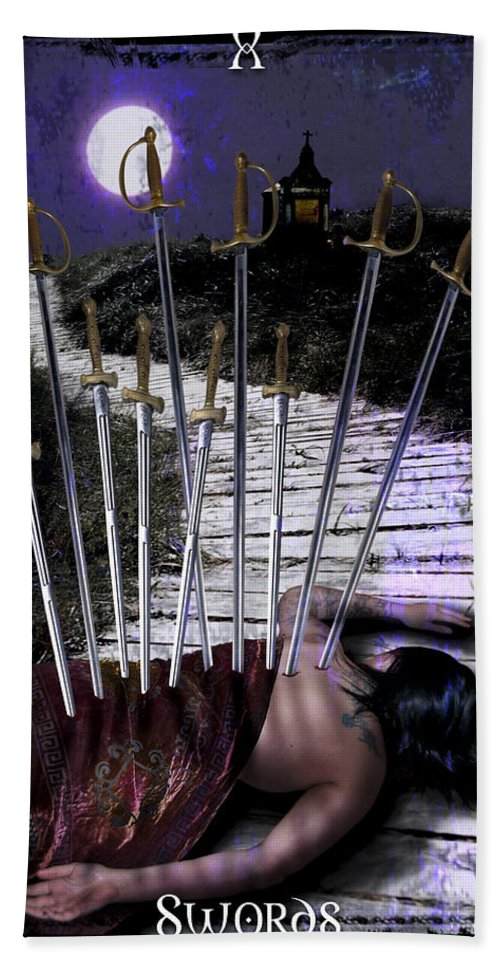 Divine Hand Towel featuring the digital art 10 Of Swords by Tammy Wetzel