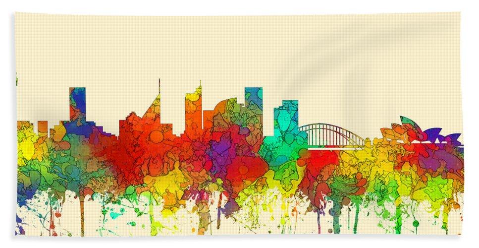 Sydney Australia Skyline Hand Towel featuring the digital art Sydney Australia Skyline by Marlene Watson