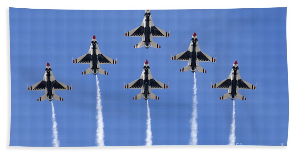 Usaf Thunderbirds Hand Towel featuring the photograph Us Air Force Thunderbirds Flying Preforming Precision Aerial Maneuvers by Anthony Totah