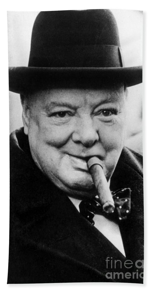 Churchill Hand Towel featuring the photograph Winston Churchill 10 by English School
