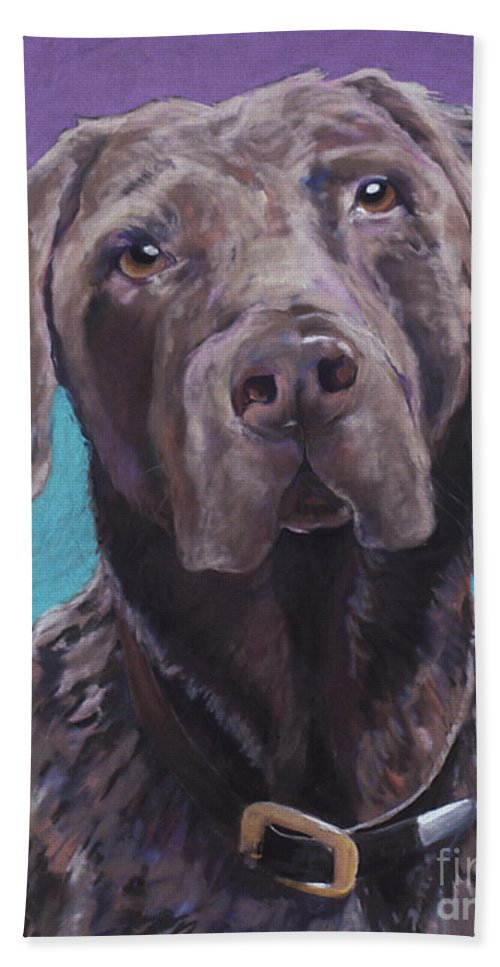 Pet Portrait Commissions Bath Sheet featuring the pastel 100 Lbs. Of Chocolate Love by Pat Saunders-White