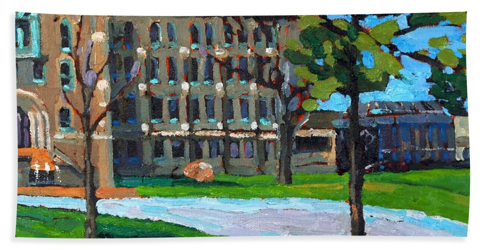 2092 Bath Towel featuring the painting 1000 Islands Village by Phil Chadwick
