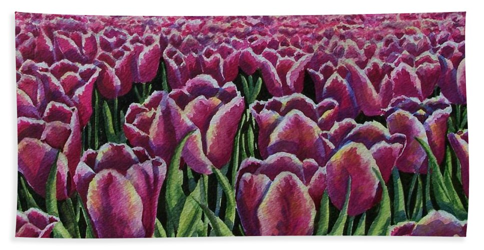 Tulips Hand Towel featuring the painting 1000 Tulpis by Conni Reinecke