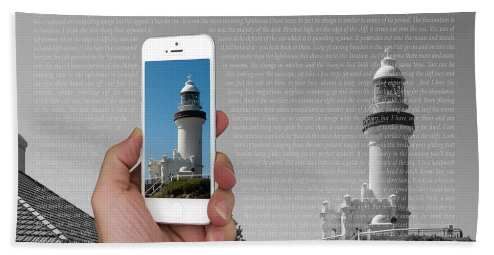 1000 Bath Sheet featuring the photograph 1000 Words-byron Bay Lighthouse by Rodney Appleby