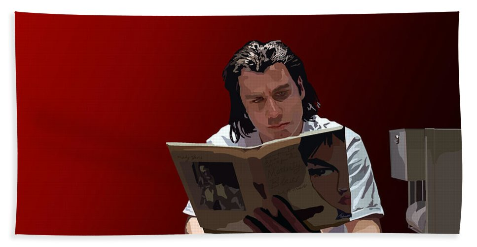 Pulp Fiction Bath Sheet featuring the digital art 103. Have You Ever Given A Foot Massage by Tam Hazlewood