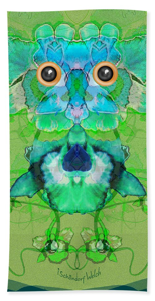 The Flower Owl Hand Towel featuring the painting 1045  Flower Owl 2017 by Irmgard Schoendorf Welch