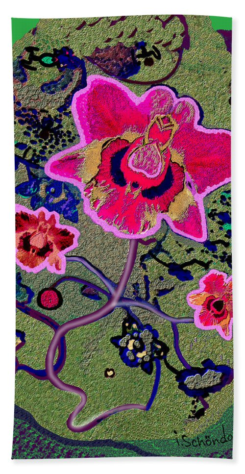 1046 Pink Flower Simple Greeting Card A Hand Towel featuring the painting 1046 - Pink Flower Simple Greeting Card  A by Irmgard Schoendorf Welch
