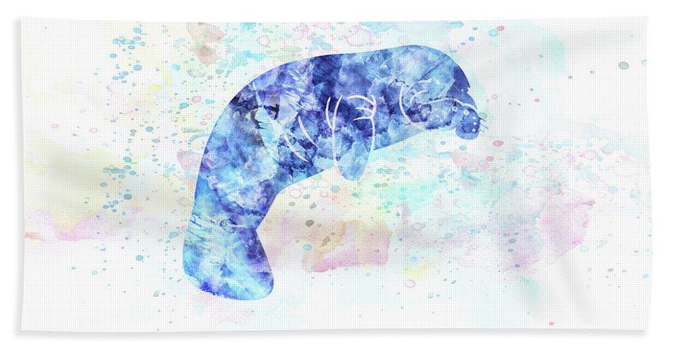 Manatee Bath Sheet featuring the digital art 10957 Manatee by Pamela Williams