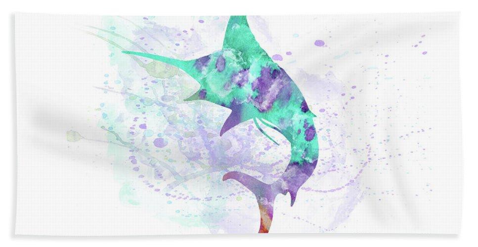 Swordfish Bath Sheet featuring the digital art 10961 Swordfish by Pamela Williams