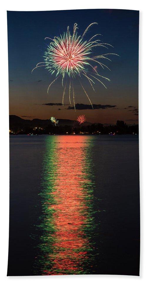 Celebration Bath Sheet featuring the photograph Fireworks by Bogdan Lewulis