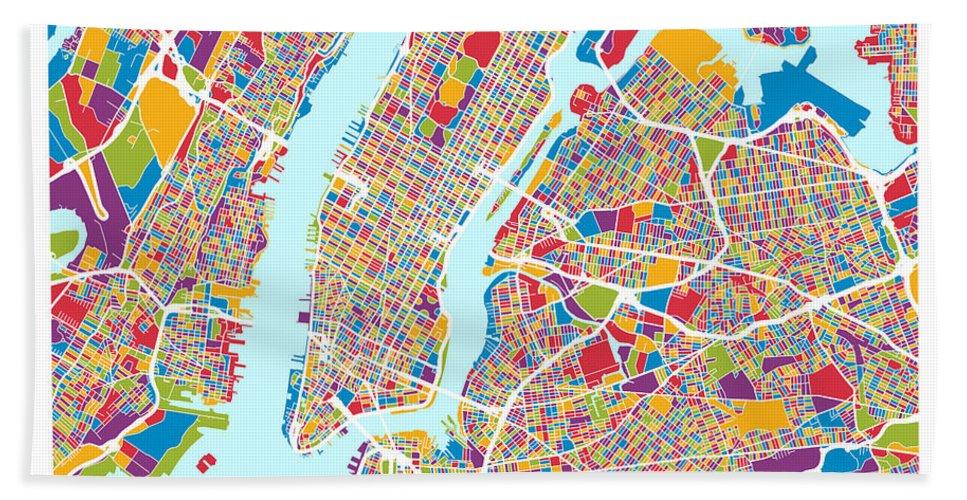 New York Hand Towel featuring the digital art New York City Street Map by Michael Tompsett