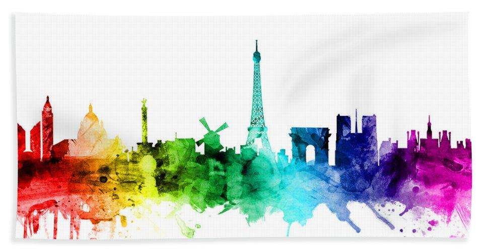 Paris Bath Towel featuring the digital art Paris France Skyline by Michael Tompsett