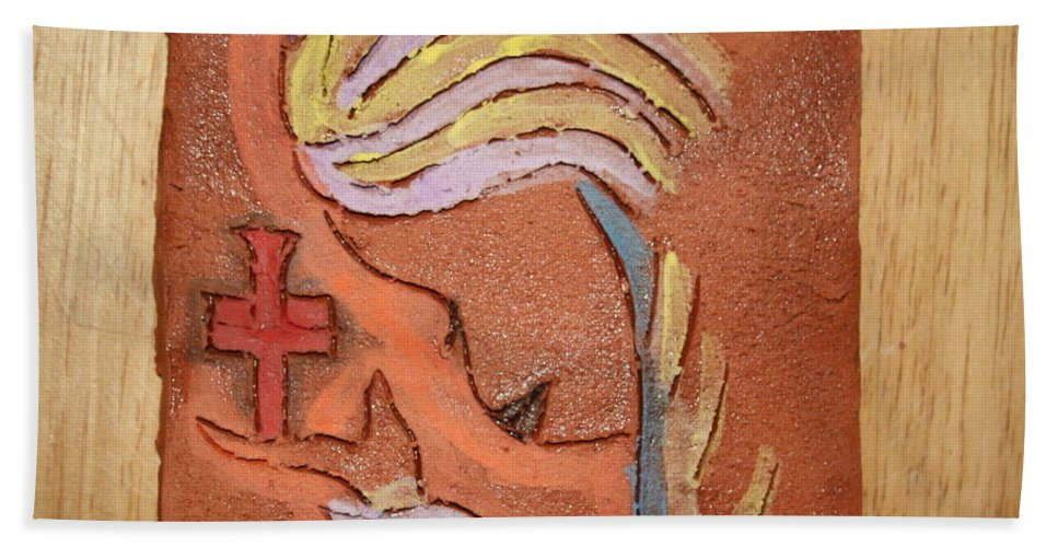 Jesus Hand Towel featuring the ceramic art Sign - Tile by Gloria Ssali