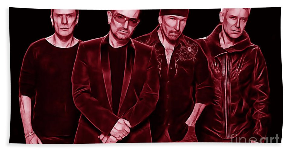 Bono Bath Sheet featuring the mixed media U2 Collection by Marvin Blaine