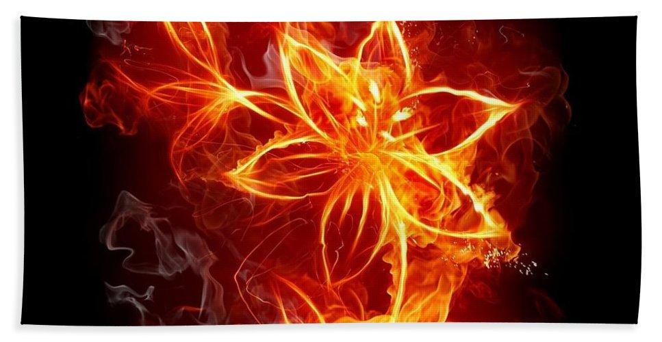 17 Flowers Fire Hand Towel featuring the digital art 112775 Flowers Fire by Mery Moon
