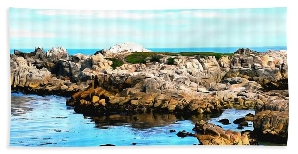 Digital Painting Hand Towel featuring the painting West Coast Seascape 2 by Barbara Snyder