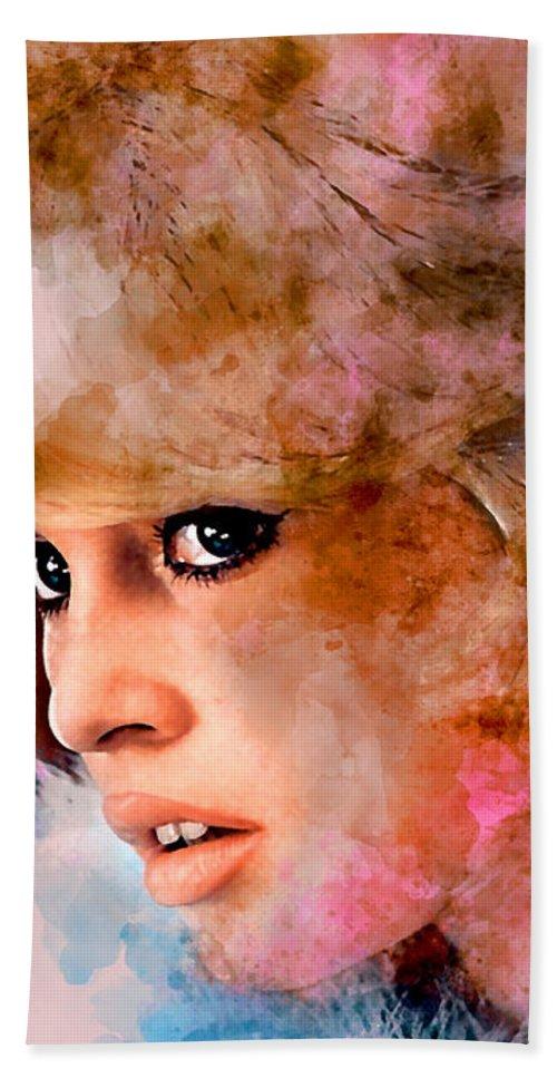 Brigitte Bardot Hand Towel featuring the mixed media Brigitte Bardot by Marvin Blaine