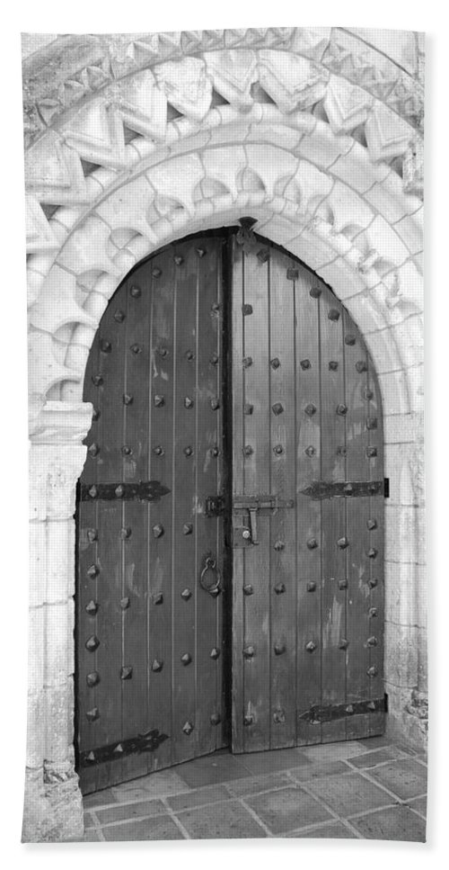 Wooden Doors Bath Sheet featuring the photograph Miami Monastery by Rob Hans