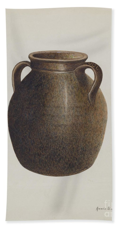 Hand Towel featuring the drawing Stoneware Jar by Annie B. Johnston