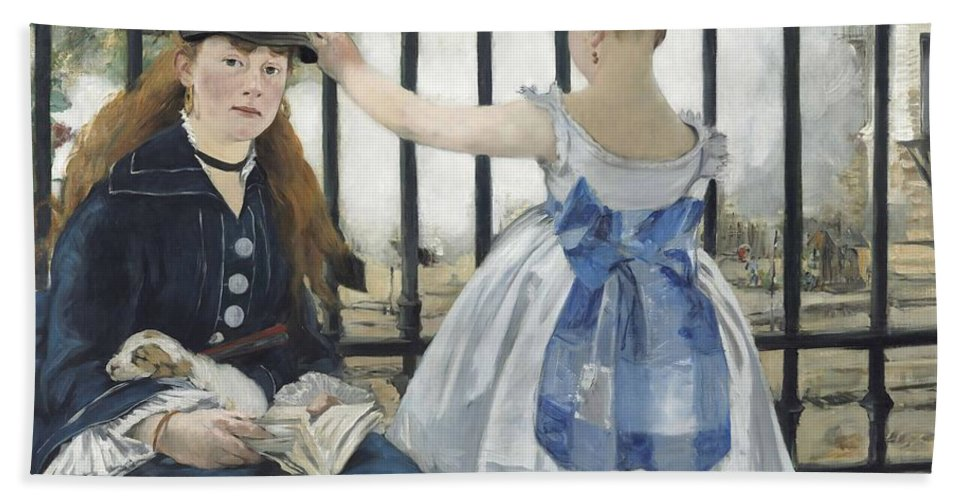 The Railway Bath Towel featuring the painting The Railway by Edouard Manet
