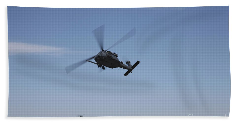 Exercise Angel Thunder Bath Sheet featuring the photograph U.s. Air Foce Hh-60g Pave Hawk by Terry Moore