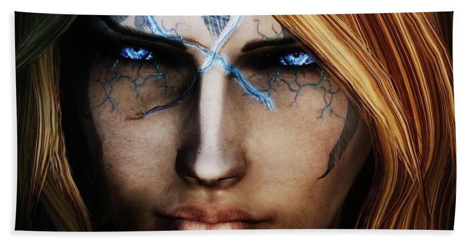 1 The Elder Scrolls V Skyrim Wizard Blue Eyes Hand Towel featuring the digital art 120941 The Elder Scrolls V Skyrim Wizard Blue Eyes by Rose Lynn
