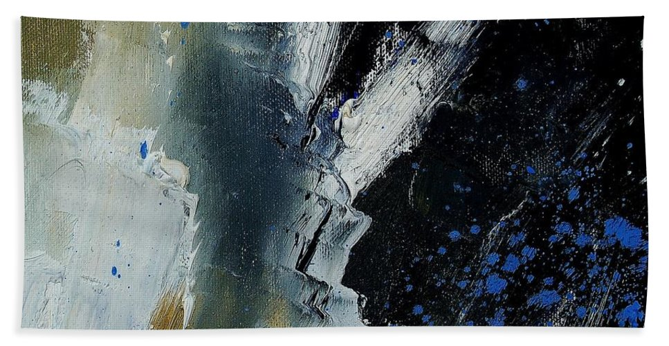 Abstract Hand Towel featuring the painting 1237 by Pol Ledent