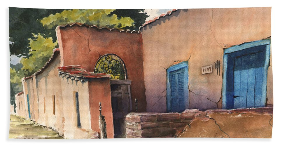 Adobe Bath Towel featuring the painting 1247 Agua Fria Street by Sam Sidders