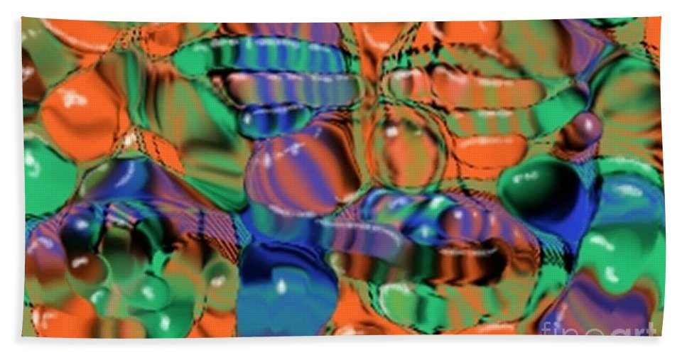 Abstract Bath Sheet featuring the digital art 1297exp1 by Ron Bissett