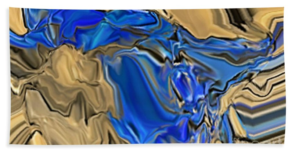 Abstract Hand Towel featuring the digital art 1297exp6 by Ron Bissett
