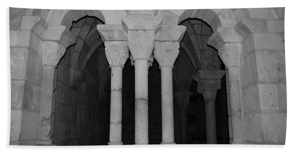 Black And White Bath Sheet featuring the photograph Miami Monastery by Rob Hans