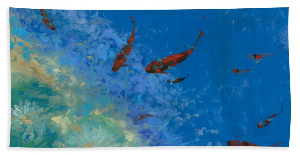 Fishscape Hand Towel featuring the painting 13 Pesciolini Rossi by Guido Borelli